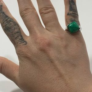 Green Turquoise colored stone and Silver Ring